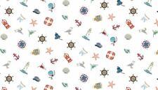 Marina Icons Shells Lighthouses Lanterns 100 Cotton Fabric by Makower FQ