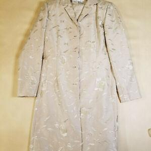 Designer La Femme Gilar 100% Silk Lined Blazer and Trouser Set Taupe/Beige