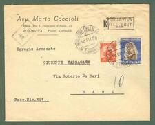 Storia postale. REPUBBLICA ITALIANA. Lettera raccomandata del 16.10.1950