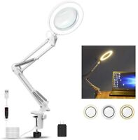 Adjustable Swivel Arm Lighted Magnifier Light for Workbench Reading Craft Close Work 4.1 Diameter Glass Lens Stepless Dimming 3 Color Modes,5-Diopter NOEVSBIG LED Magnifying Lamp