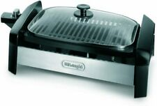 DeLonghi Indoor Electric Barbecue Grill Stainless Steel With Glass Lid NEW