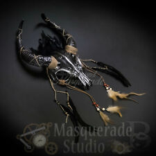 Unisex Ancestral Horned Demon Animal Skull Headdress Masquerade [Silver]