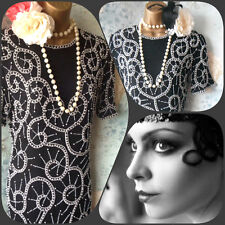 new silk black white tape bead pearl deco 20s Gatsby 80s Vtg party dress 10