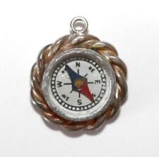 Vintage Moving Compass Sterling Silver Bracelet Charm (4.1g)