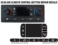03-06 GM CHEVROLET AC CLIMATE CONTROL BUTTON REPAIR DECALS TAHOE YUKON