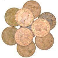 10 GREAT BRITAIN UNITED KINGDOM 1 PENNY COINS, QUEEN ELIZABETH II 1953 - 1970