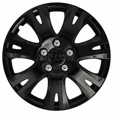 "16"" Set of 4 Black Wheel Covers Snap On Full Hub Caps fits R16 Tire & Steel Rim"