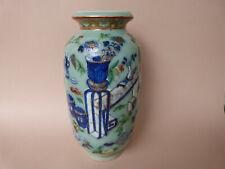 vase porcelaine de Chine Canton XIXeme celadon antique Chinese famille rose