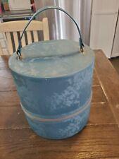 "vtg blue Vinyl Train Case Hat Box Wig Case 10"" luggage suitcase mod 60s hippie"