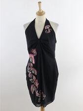BNWT Karen Millen Womens Black Fan Print Halterneck Dress Size 14