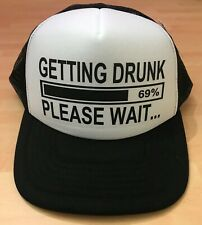 d8e18404a GETTING DRUNK Printed Trucker Baseball Cap Hat Funny Joke Drink Beer STAG  NIGHT