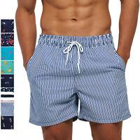 Men's Swim Trunks Quick Dry Beach Shorts with 3 Pockets Drawstring Print Pattern