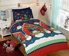 Father Christmas Kids Xmas Snowman Penguin Santa Quilt Duvet Cover and 2 Bedding