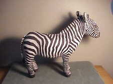 VINTAGE 1990 COTTON CLOTH STUFFED ZEBRA ANIMAL FIGURINE - DETERMINED PRODUCTIONS