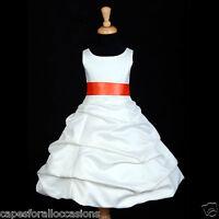 WHITE WEDDING FLOWER GIRL DRESS PICK-UP COMMUNION 2 3T 4 5T 6 8 10 12 14 16 #806