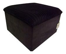 Large Black Jumbo Cord With Black Snake Skin Faux Leather Base Storage Box/Stool