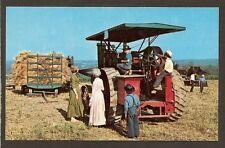 Postcard: Steam Engine & Treshing Scene - Geauga Historical Soc. - Burton, Ohio