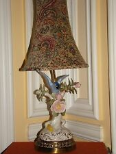 "VINTAGE PORCELAIN BLUE PARROT FIGURINE&FLOWERS LAMP W/SHADE ON BRASS BASE  22""H"