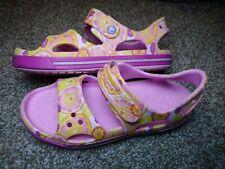 CROCS Girls Size 3 Pink Classic Strap Sandals Fruits Floral