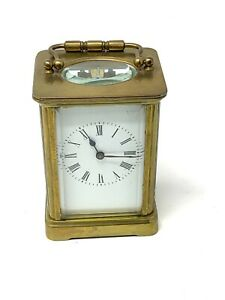 Fantastic Antique Victorian Key Wind Carriage Clock Working #1113