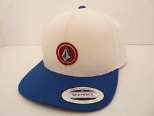 NEW VOLCOM STONE SNAP BACK WHITE BLUE CAP HAT ONE SIZE FITS ALL code ZY352