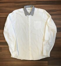 Dries Van Noten White Poplin Shirt Striped Collar Sz 48 M