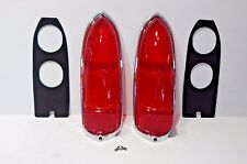 New Pair Lucas Tail Lamp Lens Set + Chrome Rims Gaskets Screws MGB 1963-69