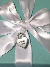"Tiffany & Co. Sterling Silver 925 ""I Love You"" Padlock Heart Lock Charm Pendant"
