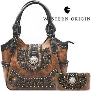 Western Handbag Floral Concho Brown Concealed Carry Purse Shoulder Bag Wallet