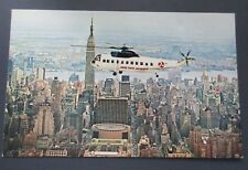 Twin Engine Luxury Helicopter Taxi New York Airways Manhattan NY Vintage PC
