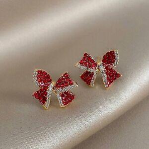 2021 Fashion Red Bow Zircon Stud Earrings Dangle Women Wedding Jewelry Xmas Gift