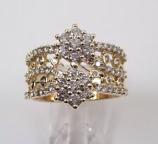 14K Yellow Gold Cocktail Size 10.5 Diamond Cluster Flower Ring Anniversary Band