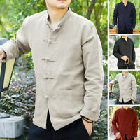 Hommes Chemise à manches longues style chinois Causal Vintage en lin chemisier