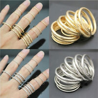 16x Set New Punk Stackable Plain Band über Knuckle Midi Finger