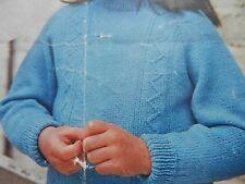 "Boys Girls Sweater Jumper 3/4 Ply DK 23-28"" Chest Vintage Knitting Pattern"