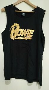 Bowie Black Cotton Gold Graphic Sleeveless T-shirt Size 20