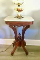 "Antique Turtle  Marble top Victorian Lamp Side Table Burl wood Fronts 15"" x 20"""