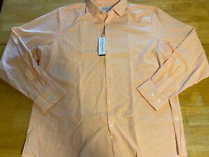 Mizzen + Main XL Standard Fit NWT ORange Check Long Sleeve Button Up Shirt A34