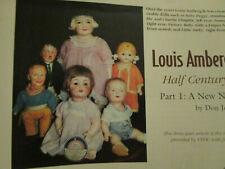 23pg Louis Amberg Doll History Article w/Chronological Charts 1879-1921 / Jensen