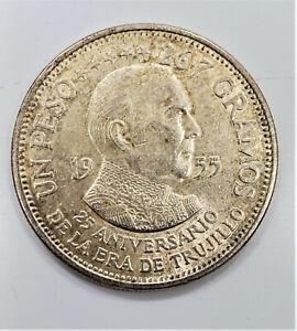 1955 Un 1 Peso 25th Anniversary Dominican Republic Silver Coin - You Grade It Q4