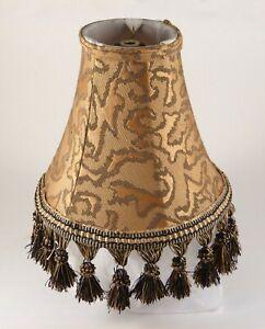 Lamp Shade Exotic w/ Tassels Jungle Print Gold Black Bell Shape Victorian 8x9