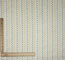 """Vintage Pillow Ticking Fabric Yellow Striped Floral Cotton BTHY 29"""" Wide NOS"""