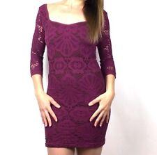 Intimately Free People M/L Pink Slashed Lace Purple Pink 3/4 Sleeve Dress