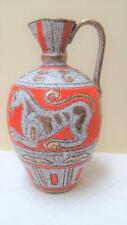"Vintage Mid Century ELBEE Italian Sgraffito Pottery Jug 10"" Pitcher #30/50"