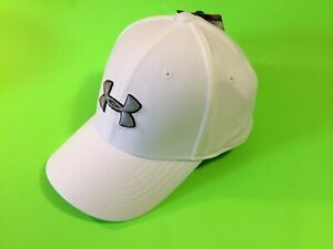 New UNDER ARMOUR UA Heatgear Youth Boys Snapback Hat Sz S/M White w/Gray