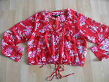 ULTIMATE MIK´S schöne kurze Bluse rot im Blumenmuster Gr. L NEU KD115