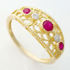 NATURAL RUBY DIAMOND RING. VINTAGE ANTIQUE STYLE IN SOLID 9K 9CT 375 YELLOW GOLD