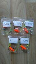 5x Running ledger sea fishing pennel rigs 1/0 baitholder hooks good 4 cod bass