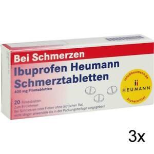 3x IBUPROFEN Heumann Schmerztabletten 400 mg 20 St PZN: 40554