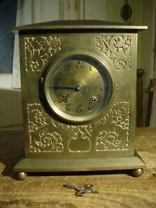 "ANTIQUE ANSONIA 1901 ""CORNWALL"" ART NOUVEAU BRASS + IRON SHELF CLOCK WORKING"